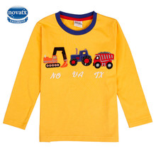 Boys t-shirts nova kids clothes long sleeve kids clothes embroidery car fashion Dinosaurs bobo choses tops spring/autumn boy tee