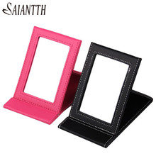 SAIANTTH beauty women Necessary new makeup Mirror pink black Rectangular foldable portable cosmetic tool 17*11cm espelho make up(China)