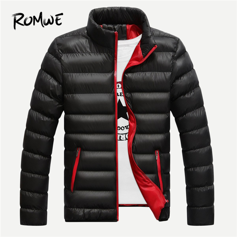 ROMWE Men Black Stand Neck Solid Padded Coat Mankind Casual Winter Mens Clothes 2019 Jacket Clothing Male Fashion Outerwear
