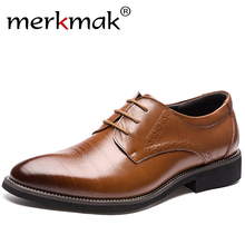 2017 New High Quality Genuine Leather Men Brogues Shoes Lace-Up Bullock Business Dress Men Oxfords Shoes Male Formal Shoes(China)