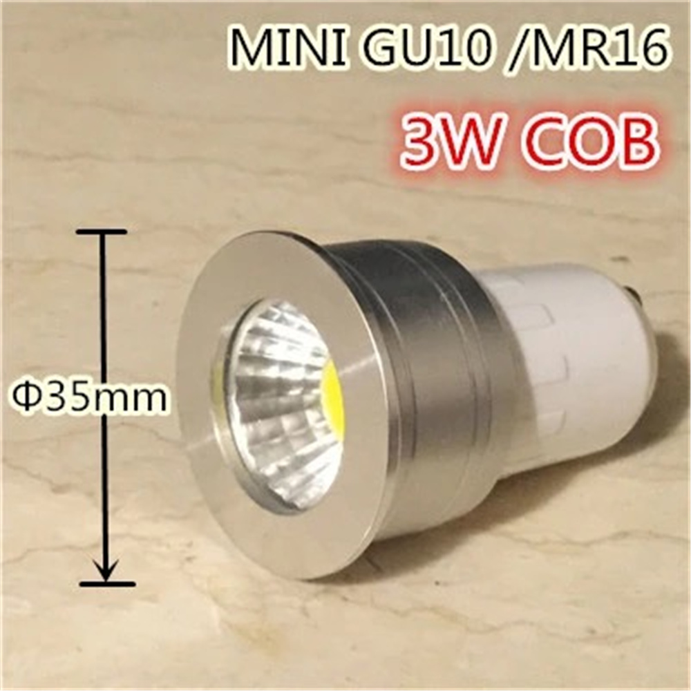 free shipping LED GU10 COB mini GU10 MR16 dimmable Warm White Spot Light Bulb Lamp 3W 35mm LED spot lamp replace halogen lamp(China)