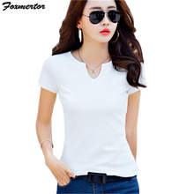 Buy 100% Cotton New 2017 Summer T Shirt Women's Short Sleeve V-Neck Tops Tees Solid Casual Female T-Shirts Basic Black White #E404 for $5.25 in AliExpress store