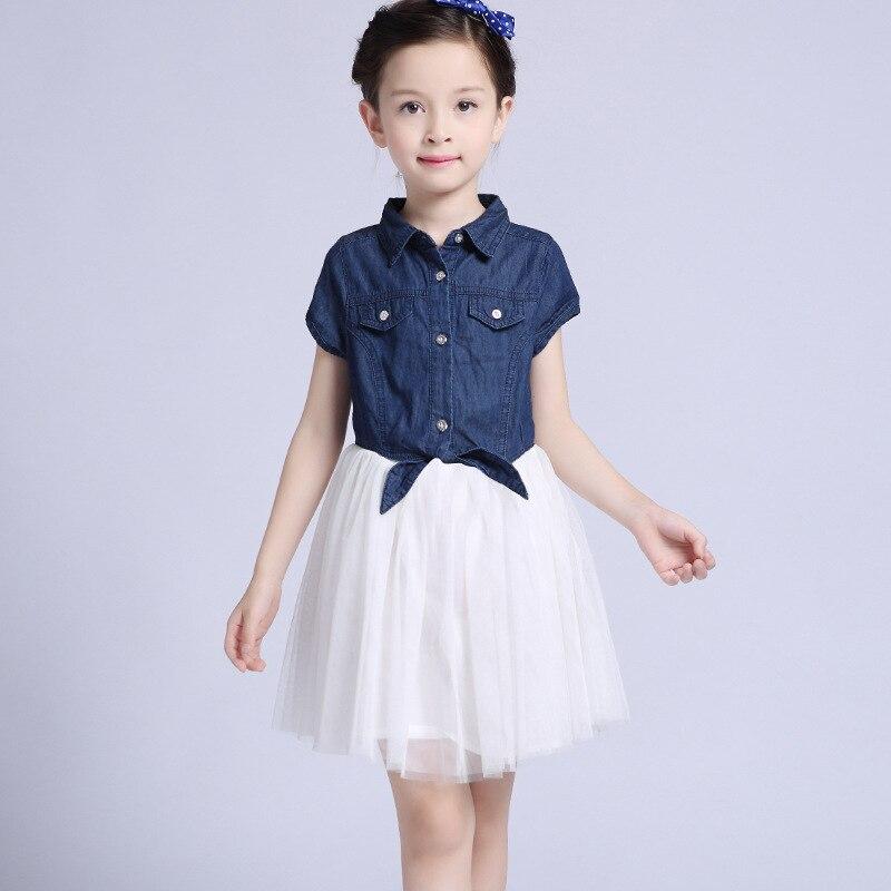 Summer Dress For Girls Cotton Children Clothing Denim Kids Clothes Mesh Tutu Short Sleeve Kids Clothes Girls Princess Dress C011<br><br>Aliexpress