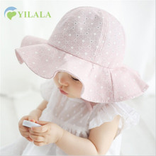 Lovely Baby Girls Hat Lace Princesse Summer Sun Hat Solid Panama Girls Beach Cap Children Wide Brim Cap Baby Girls Cloting 1-3Y(China)