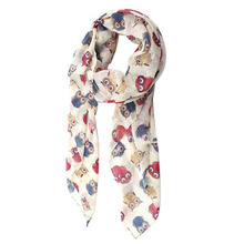 NEW Cute Colorful Owl Print Scarf For Women-Light yellow(China)