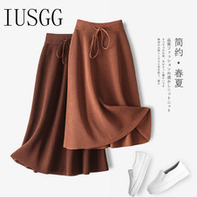 IUSGG Solid Skirt Ice Linen Fabric Fashion Casual Lace Up A-Line Midi Skirt Spring Elegant Sewing Skirt Black Coffee