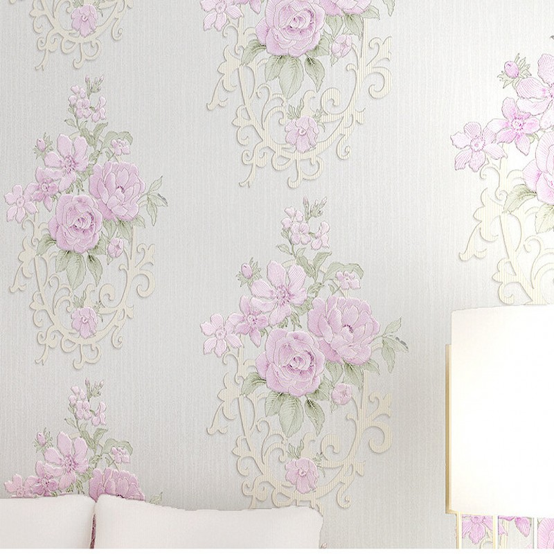 Free Shipping New warm pastoral large flower non woven wallpaper romantic kitchen wallpaper living room background wallpaper<br>