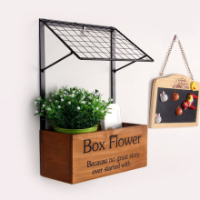 Zakke Creative Home Decoration Pastrol Style Flower Box Wall Shelf Multi-use Wooden & Metal Wall Shelf Magazine Holder 0026