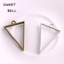 20pcs 25*39mm Alloy jewelry setting accessories triangle charms Hollow glue blank pendant tray bezel charms DIY Handmade D6094-1