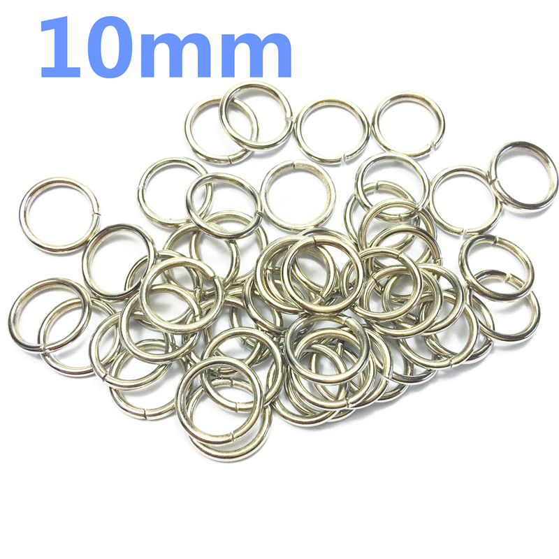 1-O Ring 10mm Metal for ribbon Dee Webbing Belt Buckles Bag Non Welded silver