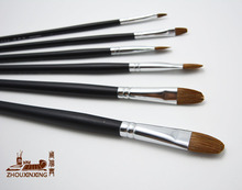 6 pcs/set weasel hair oil painting brush black long wood rod acrylic brush Gouache Watercolor Drawing Painting Pen art supplies(China)