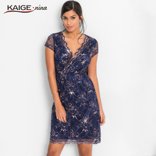 KaigeNina New Fashion Hot Sale Women Flower Natural Simple Printing Cloth V- Neck Mid-Calf lace knitting cotton Dress 18005