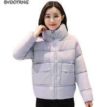 New Big Yards Women Coat Winter Thickening Eiderdown Cotton Short Jacket Parka Standing Collar Fashion Leisure Outerwear Q805(China)