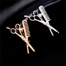 H:HYDE Wholesale Jewelry Supplier New Fashion scissors Brooches Korea Style CZ Wedding Bridal Gold Color Women Men