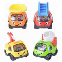New! 4Pcs/set Cartoon Cars Model Toys Engineering Vehicles Mixer Fire Truck Car Puzzle Education Game Christmas Present Baby Toy