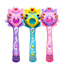 Cartoon Fairy wand Princess Electronic Automatic Bubble Maker Machine Toy Beach Outdoor Bubbles Gun Toy Light Music Girls   Gift