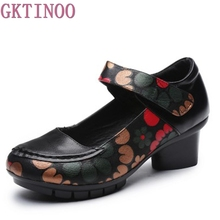 Soft Med Heels Vintage Style Genuine Leather Shoes Personality Casual Women's Pumps Summer Cowhide Retro Floral Handmade Shoes(China)