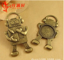 A3512 free shipping 10pcs/bag fittings 20mm robot cabochon bronze Antique diy  Jewelry finding for chain accessories