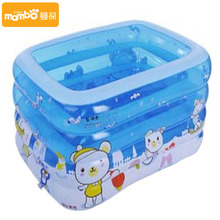 bathtub baby swimming pool with pump gift cartoon rectangular inflatable mattress pvc swimming pool 145*110*75CM christmas gift(China)