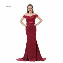 ZYLLGF Burgundy Evening Dresses Mermaid Off Shoulder Appliques Beaded Formal Evening Gowns Dresses Shopping Online SL18(China)