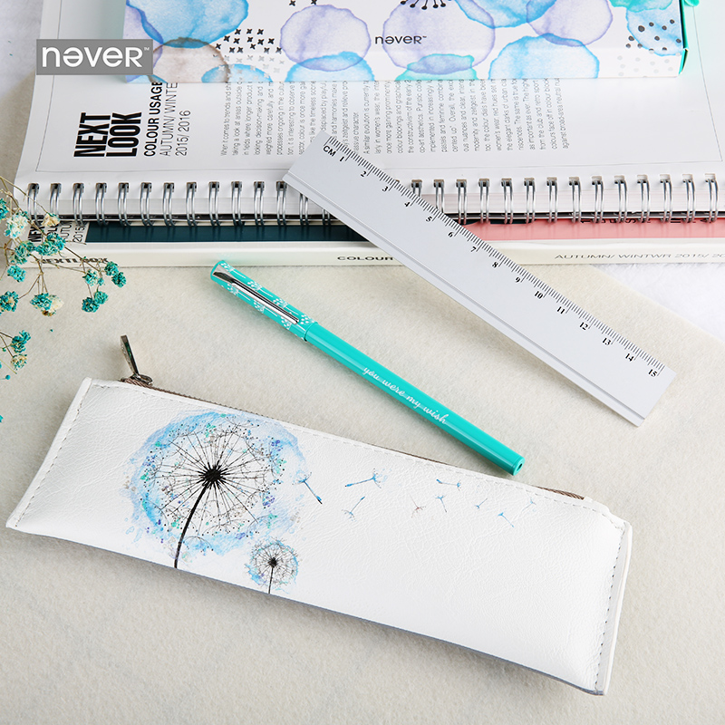 Never Dandelion Series Stationeries Set Ruler Gel Pen Pu Leather Pencil Bag Stationery Sets Office Accessories School Supplies<br>