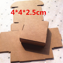 50PCS 4*4*2.5cm White Brown Black Mini Kraft Paper Cartons Box Ring Jewelry Packing Box Wedding Gifts for Guests Candy Box