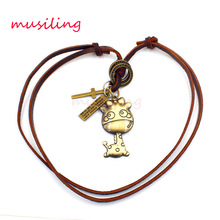 Adjustable Leather Necklace Giraffe Pendant Charms Punk Rock Hiphop Decorations Amulet Fashion Jewelry 10pcs(China)