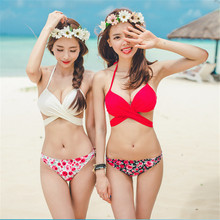 YEAPOOK Sexy Beach Solid Red White Bikini Set Rose Floral Swimwear 2017 Women Bandage Swimsuit Halter Bathing Suit WSSW158