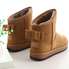 2016 Cheap China Brand Cute Furry women Boots Faux Fur Leather Suede Winter Snow Boots Shoe with Bow style ug Australia for Wome