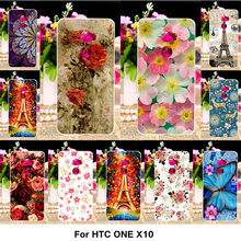 Painted Plastic Phone Cover Case For HTC One X10 E66 5.5 inch Cases X10 E66 Covers Housings Hard Tower Flowers Shell Phone Bags