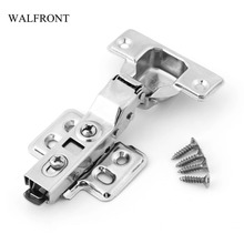 WALFRONT 1pcs Stainless Steel Door Hydraulic Hinges Wardrobe Kitchen Close Furniture Hardware Cabinet Hinges Buffer Cupboard