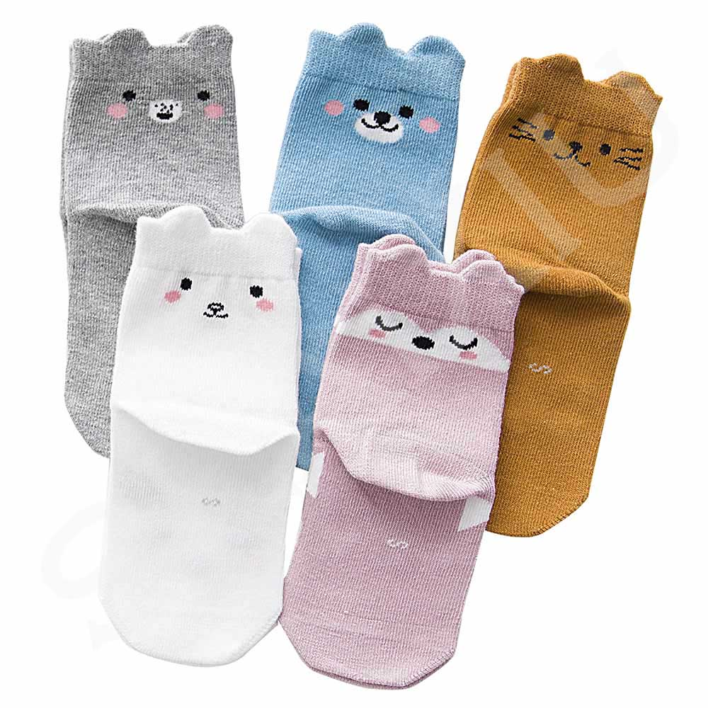 5 Pair/lot Kawaii Pattern Cotton Kids Socks Baby Breathable Boys Girls Socks For Children Sock 5 Kinds Style Suitable For 1-12Y 11