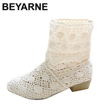 BEYARNE Hot! 2017 Spring and summer fashion boots, breathable hole female boots, high-leg hole shoes,knitted boots