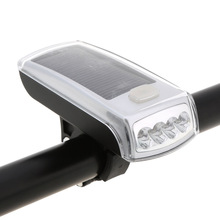 NEW Solar Bike Lights 4 LED Bicycle Front Head Light USB 2.0 Rechargeable Headlight Portable Outdoor Night Cycling Lights