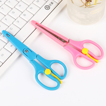 1PC Stainless Steel Scissors Student DIY Elasticity Crafts Scissors Safety Sleeve School Office Cutting Supplies