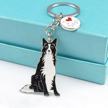 Border collie keychains Animal key ring pet dogs Tag key Keychain Jewelry men gift Metal car Key Ring best friend gifts cheap(China)