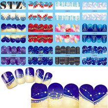 STZ 1 Sheet Christmas Designs Nail Sticker Snow Flower Water Transfer Decals Nails Art Decoration Colorful Full Tips  BN205-216