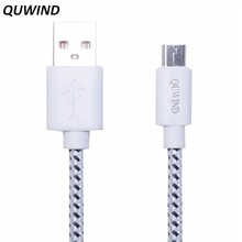 QUWIND Nylon braided Cable 1 M 2 M Micro USB Charging Data Cable for HuaWei Android Samsung HTC Cell Phones(China)