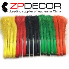 ZPDECOR 200pcs 80-90cm(31-35 inch) Hand Select Premium Quality Wholesale Colorful Peacock Tail Feathers Dyed For Carnival Show(China)