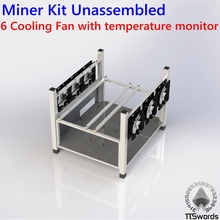 Open Air 6 GPU Mining Case Computer full tower ETH Miner Frame Rig 6x Fan & Temp Monitor bitcon Miner Kit Unassembled(China)