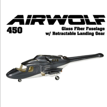 New version Bell 222 Fiber glass 450 airwolf fuseage helicopter W/retracts& metal landing gear airwolf 450 V3 wholesale P2