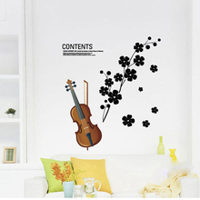 violin wall  sticker  Musical Instruments wall decal  home decor adhesive art mural removable vinyl wallpaper AY934