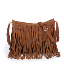 JIARUO Autumn Winter Full Suede Fringe Tassel handbag Women Sling Shoulder Crossbody Messenger bag Hand bag Shopping office