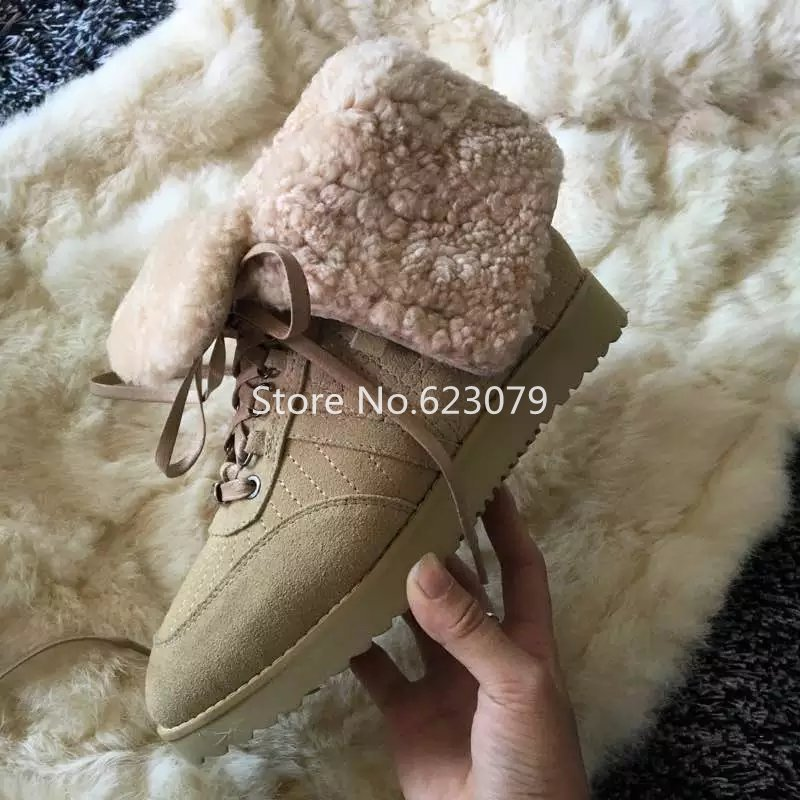winter Sheepskin wool Women lace up snow boots khaki flat fold over ankle winter boots cozy Ladies fur Warm Australia boots<br><br>Aliexpress