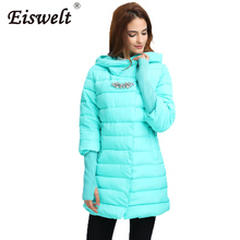 EISWELT 2017 women winter Fur jacket women Diamonds hooded long coat parkas thickening Female Warm Clothes outwear coats