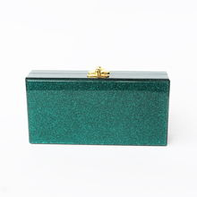 Green Glitter Acrylic evening Women messenger bags Clutch BagTransparent Pearl white Perspex Clutch Evening Handbag Acrylic Bag