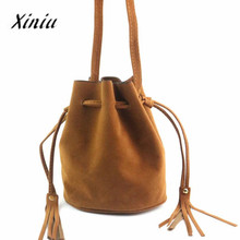 Xiniu Bags Women Tassel Drawstring Handbag Fashion Shoulder Bag Ladies Purse Solid Crossbody bag