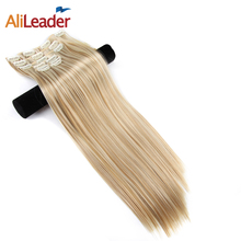 Alileader Kanekalon Synthetic Hair Full Head Clip In Hair Extension Hairpieces Fake Hair Pieces One Clip Extension 16 Colors(China)