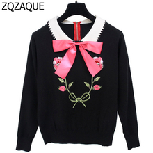 European and American Brand Designer Luxury Diamonds Sequins Knitted Apparels Fashion Women's Bow Decorated Pullover Tops SY1315(China)