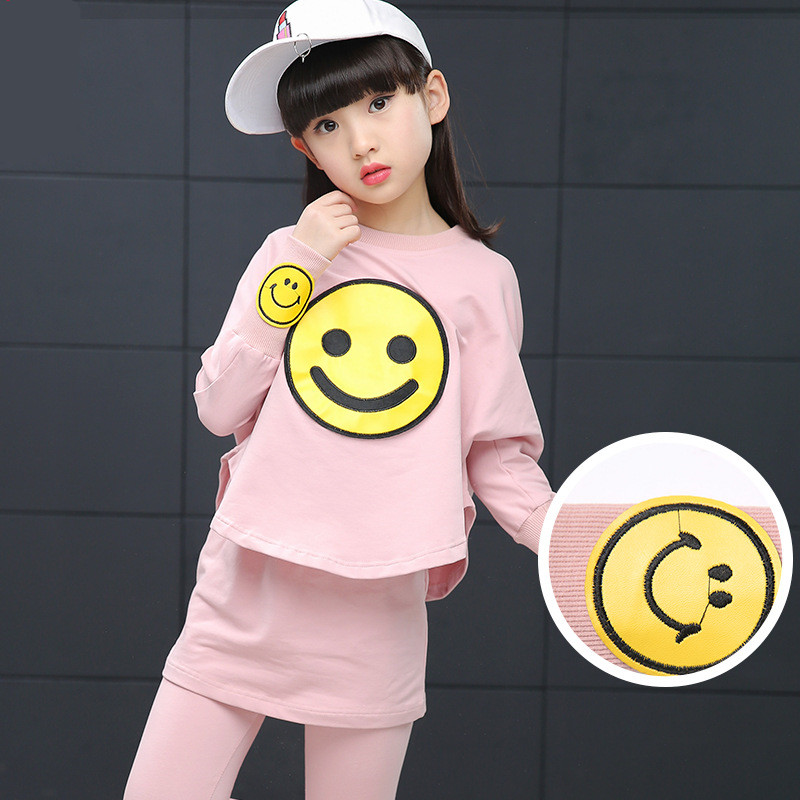 2017 New Spring Girls Clothing Sets Smile Cotton Girls Sports Suits Long Sleeve T-Shirts &amp; Pants 2Pcs clotjhing set for teenager<br><br>Aliexpress